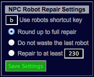NPC Robots Repair Settings